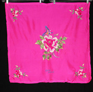 "VERY RARE VINTAGE 1950'S SILK EMBROIDERED JAPANESE FUCHSIA SILK SCARF 32"" X 33"""