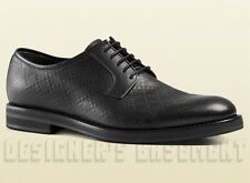 GUCCI mens 11.5* Black leather DIAMANTE Oxford CARNEY Derby shoes NIB Auth $750
