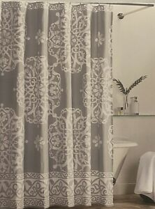 Tahari Home Grey Medallion Paisley Fabric Shower Curtain