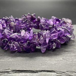 "Artisan Stringed Cluster Purple Amethyst Statement Bracelet 6"" Stretch"