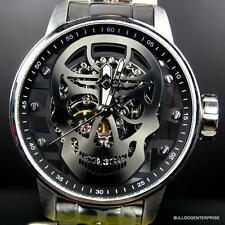 Mens Invicta S1 Rally Mechanical Gunmetal Skull 48mm Skeleton Steel Watch New