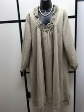 Veritecoeur Japan OS Linen Lace Taupe Khaki Long Sleeve Dress