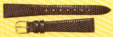 14mm HADLEY-ROMA Real-Lizard Leather Watch Strap Band BROWN <NWoT>