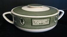 COLONIAL HOMESTEAD ROYAL CHINA COVERED CASSEROLE DISH 2 PIECES GREEN AND WHITE
