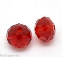 L/P: 70 Rot Kristall Facettiert Böhmische Glasschliffperlen Beads 8mm