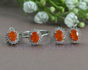 Oval Cut Natural Orange Ethiopian Opal Gemstone 925 Sterling Silver Jewelry Set