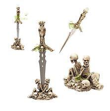 """16.75"""" Fantasy Skull Skeleton Tower Dagger Crystal Pommel skeleton Stand NEW"""