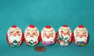 SANTA EGGS Christmas Tree Decorations Russian hand painted set 5 matt ornaments