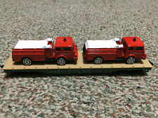 Unique Custom Build Tyco Flat Car Loaded with 2 Die Cast Fire Engines
