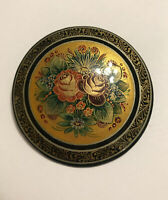 VINTAGE HAND PAINTED RUSSIAN WOODEN BLACK LACQUER FLORAL BROOCH PIN SIGNED