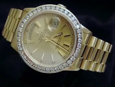 Men Rolex Solid 18K Yellow Gold Day-Date President Watch 3ct Diamond Bezel 18038