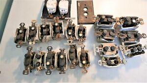 14 Antique Porcelain Push Button Light Switches + 7 for Parts