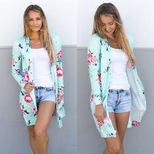 Autumn Cardigan Loose Sweater Floral Long Sleeve Women Outwear Jacket Coat Tops