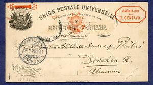 Peru-  Postal Stationary, Postcard, Higgins and Gage 26, Lima to Germany 1898