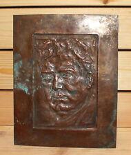 Antique hand made bronze wall hanging plaque man portrait