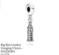 PANDORA Charm Sterling Silver ALE S925 BIG BEN TOWER LONDON HANGING 791080