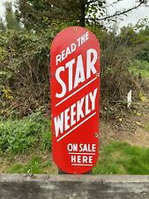 """Vintage Porcelain Sign Star Weekly 1950's 24"""" X 7 1/2"""" RARE Canadian Made Glossy"""