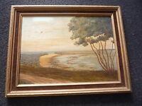 Original Seascape Seaside Tree Oil Painting on Board - Framed Signed