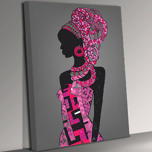 Pink Dress African Lady Canvas Wall Art Picture Print