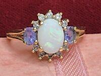 VINTAGE ESTATE 14K GOLD NATURAL OPAL DIAMOND RING ENGAGEMENT SIGNED F.D TANZANIT