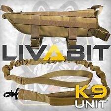K9 Service Police Dog Tan LIVABIT Tactical Molle Vest Harness + Leash Small