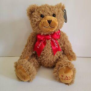 "New FAO Schwarz Teddy Bear Brown Plush Soft Stuffed Toy 10"" Red Ribbon 2020 NWT"