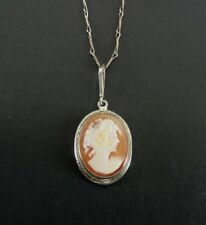 Cameo Lady Shell Sterling 925 Silver Dainty Pendant Necklace Chain