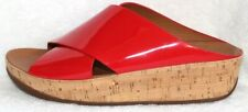 FitFlop Red Patent Leather Slip-On Platform Wedge Cork Shoes Sandals 9M NEW