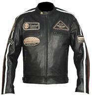 Schwarz Motorrad Leder Jacke.Highway Chopper Motorrad Club Leder Jacke.Gr S-5XL.