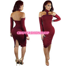 USA  Women Vintage Bandage Long Sleeve Party Club Body con Evening Pencil Dress