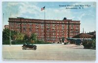 Postcard Schenectady NY General Electric GE Main Office Street View Car 1910's