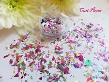 Nail Art Silver Holographic *BlaSt* Shatter Myler Flakes Mix Pot Spangle Glitter