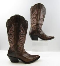 Ladies Justin Brown Leather Pointed Toe Cowboy Western Boots Size: 7.5 B