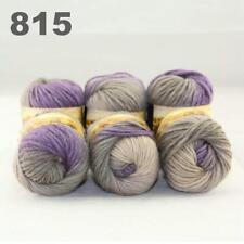 Sale New 6 Skeins x50gr Rainbows Multicolor Hand Knit Wool Yarn Wrap Scarves 15