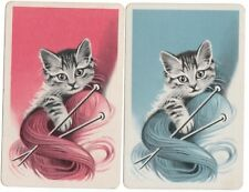 vintage Playing cards swap cards single pair cats 1930's