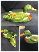 Vintage Green Ceramic Glazed Pottery Duck With Lid Dish Trinket Large VGC DECOR