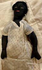 "Rare 12"" C1890 American Black Cloth Handmade Doll W/Original Cotton Outfit"