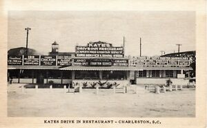 1950 CHARLESTON SC - Rare - Kates Drive In Restaurant - BBQ Banana Split Curb Sv