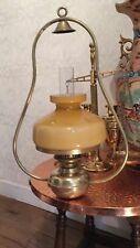 Antique Vintage suspension lampe à pétrole avec abat-jour en verre et flûte