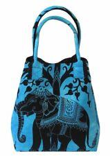 Women Shoulder Handbags Elephant Tree Blue Color Cotton Ladies Purse Tote Bags
