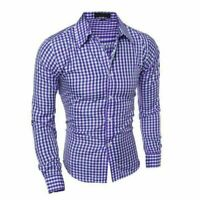 New Luxury Stylish Men's Casual Shirts Long Sleeve Check Slim Fit Dress Shirts