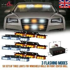 54 White & Amber Yellow LED Emergency Warning Strobe Lights Bars Deck Dash Grill