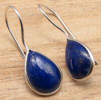 925 Silver Plated DROP LAPIS LAZULI Gem Earrings, Everyday Wear Jewelry