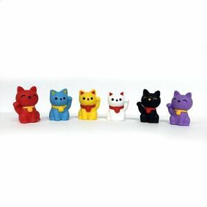 New Iwako ER-MAN001 Japanese Eraser Lucky Cat 60 pcs Assortment Bottle (IBR)