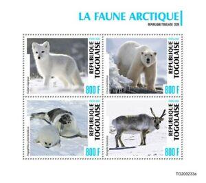 Togo Wild Animals Stamps 2020 MNH Arctic Fauna Foxes Polar Bears Seals 4v M/S