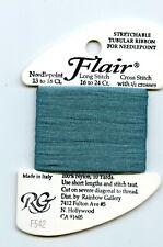 Rainbow Gallery Flair F542 Med Aquamarine Stretchable Tubular Ribbon Needlepoint