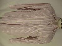 Corneliani Mens Pink Beige Striped Dress Shirt Size 42 16.5-32/33 Italy Made