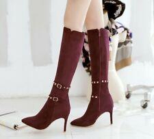 Pointy Toe Women Stiletto Slim Heel Shoes Casual Rivet Buckle Zip Knee High Boot