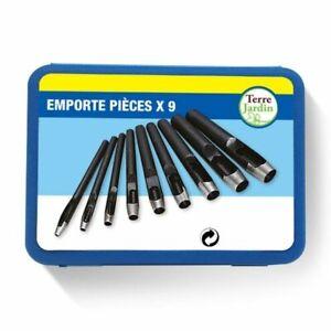 Jeu de 9 emporte pièces en coffret pour cuir carton plastique REF 339