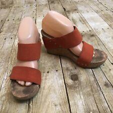 Lucky Brand Orange Wedge Sandals Size 9.5 M Magnolia Cork Heel Canvas Straps